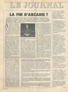 La fin d'Arcadie juillet 1982