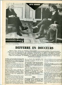 Defferre s'exprime, municipales 1983