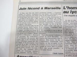 Débats GLH Marseille article Gai Pied n°16-17 été 1980