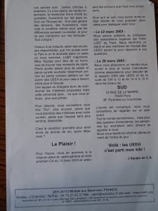 UEEH 2003 : présentation des Assises