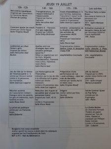 UEEH 2007 : planning des journées (extraits)